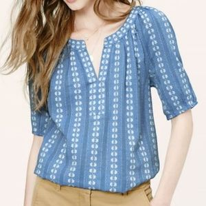 Ann Taylor Loft floral embroidered cotton top